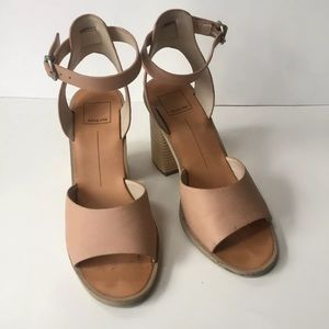 Dolce vita Sz 8 block heels sandals nude buckle